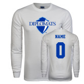 White Long Sleeve T Shirt-Diplomats Official Logo, Custom Tee w/ Name and #