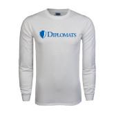 White Long Sleeve T Shirt-Diplomats Flat Logo