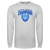 White Long Sleeve T Shirt-2017 Football Champions Stacked w/ Football Vertical