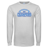 White Long Sleeve T Shirt-2017 Football Champions Stacked w/ Football