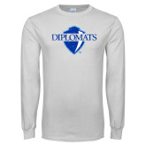 White Long Sleeve T Shirt-Diplomats Official Logo Distressed