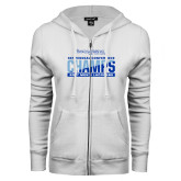 ENZA Ladies White Fleece Full Zip Hoodie-2017 Centennial Conference Champions Mens Lacrosse