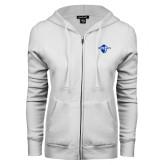 ENZA Ladies White Fleece Full Zip Hoodie-Diplomats Official Logo