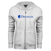 ENZA Ladies White Fleece Full Zip Hoodie-Diplomats Flat Logo