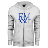 ENZA Ladies White Fleece Full Zip Hoodie-F&M
