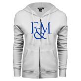 ENZA Ladies White Fleece Full Zip Hoodie-F&M