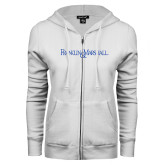 ENZA Ladies White Fleece Full Zip Hoodie-Franklin & Marshall