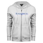ENZA Ladies White Fleece Full Zip Hoodie-Franklin & Marshall