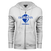 ENZA Ladies White Fleece Full Zip Hoodie-Football