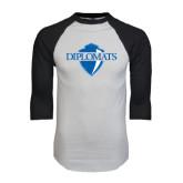 White/Black Raglan Baseball T-Shirt-Diplomats Official Logo Distressed