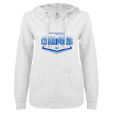 ENZA Ladies White V Notch Raw Edge Fleece Hoodie-2017 Centennial Conference Champions Softball