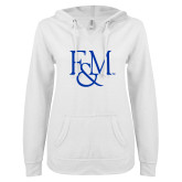 ENZA Ladies White V Notch Raw Edge Fleece Hoodie-F&M