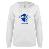 ENZA Ladies White V Notch Raw Edge Fleece Hoodie-Lacrosse