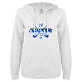ENZA Ladies White V Notch Raw Edge Fleece Hoodie-2017 Field Hockey Champions