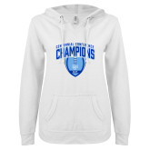 ENZA Ladies White V Notch Raw Edge Fleece Hoodie-2017 Football Champions Stacked w/ Football Vertical