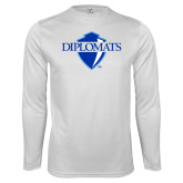 Performance White Longsleeve Shirt-Diplomats Official Logo