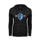 ENZA Ladies Black Fleece Full Zip Hoodie-Diplomats Official Logo