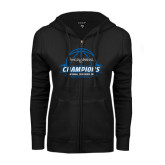 ENZA Ladies Black Fleece Full Zip Hoodie-2016 Centennial Conference Champions Mens Basketball