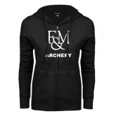 ENZA Ladies Black Fleece Full Zip Hoodie-Franklin & Marshall Archery