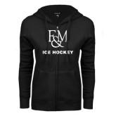 ENZA Ladies Black Fleece Full Zip Hoodie-Franklin & Marshall Ice Hockey