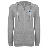 ENZA Ladies Grey/Black Marled Full Zip Hoodie-Diplomats Official Logo
