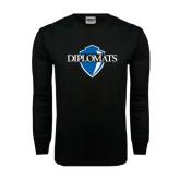 Black Long Sleeve TShirt-Diplomats Official Logo Distressed