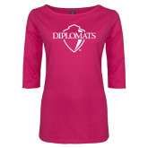 Ladies Dark Fuchsia Perfect Weight 3/4 Sleeve Tee-Diplomats Official Logo