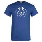 Royal T Shirt-Basketball Logo In Ball