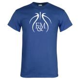 Royal T Shirt-Basketball Logo In Ball