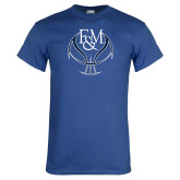 Royal T Shirt-Basketball Logo On Ball