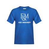 Youth Royal T Shirt-Franklin & Marshall Ice Hockey