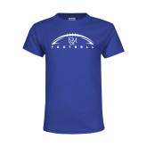 Youth Royal T Shirt-Flat Football Design