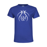 Youth Royal T Shirt-Basketball Logo In Ball