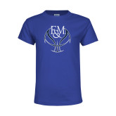 Youth Royal T Shirt-Basketball Logo On Ball
