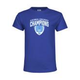 Youth Royal T Shirt-2017 Football Champions Stacked w/ Football Vertical