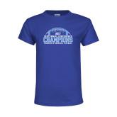 Youth Royal T Shirt-2017 Football Champions Stacked w/ Football