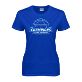 Ladies Royal T Shirt-2016 Centennial Conference Champions Mens Basketball