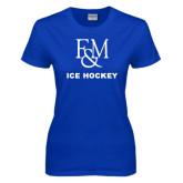 Ladies Royal T Shirt-Franklin & Marshall Ice Hockey