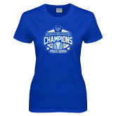 Ladies Royal T Shirt-2017 Centennial Conference Champions Womens Lacrosse