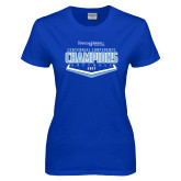 Ladies Royal T Shirt-2017 Centennial Conference Champions Softball