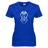 Ladies Royal T Shirt-Tall Football Design