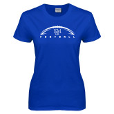 Ladies Royal T Shirt-Flat Football Design