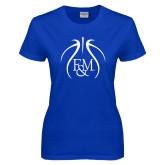 Ladies Royal T Shirt-Basketball Logo In Ball