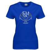 Ladies Royal T Shirt-Basketball Logo On Ball
