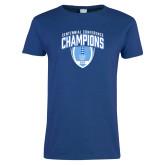Ladies Royal T-Shirt-2017 Football Champions Stacked w/ Football Vertical