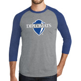Grey/Royal Heather Tri Blend Baseball Raglan-Diplomats Official Logo