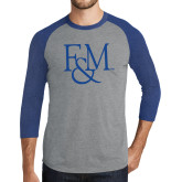 Grey/Royal Heather Tri Blend Baseball Raglan-F&M