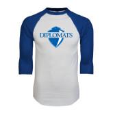 White/Royal Raglan Baseball T Shirt-Diplomats Official Logo Distressed
