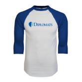 White/Royal Raglan Baseball T Shirt-Diplomats Flat Logo
