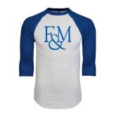 White/Royal Raglan Baseball T Shirt-F&M